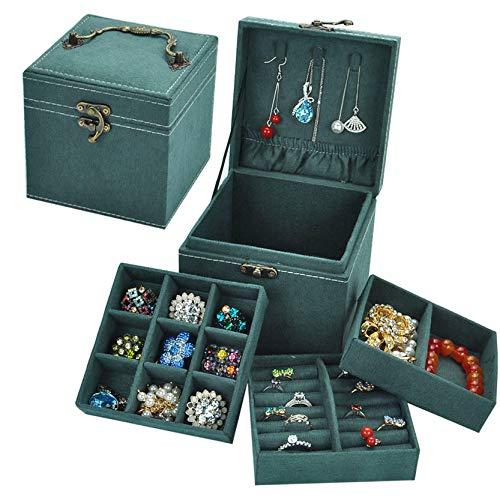 Anguipie Jewelry Box, Three Layers Jewelry Organizer Box for Women Girls, Small Jewelry Storage Box for Vintage Style, Earring Accessories Storage Travel Jewelry Case,Green