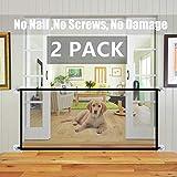 Valla De Seguridad para Perros 2 PCS, Valla Protectora, Valla Plegable, Barrera Portátil para Mascotas Utilizada para Las Escaleras De La Cocina Entrada Al Dormitorio (Color : 2*Black 110 * 72cm)