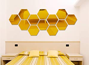 Yusylvia 12 peças Hexagonal 3D Espelhos de acrílico Adesivos de parede Decoração de casa Sala de estar DIY Arte moderna Es...