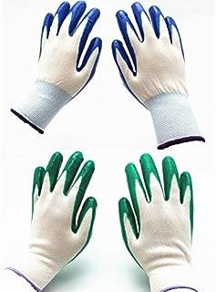 7 Pairs Pack SKYTREE Gardening Gloves, Work Gloves, Comfort Flex Coated, Breathable Nylon Shell, Nitrile Coating, Women's Medium Size, Green/Blue