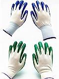 7 Pairs Pack SKYTREE Gardening Gloves, Work Gloves, Comfort Flex Coated, Breathable Nylon Shell, Nitrile Coating, Women's Medium Size, Green/Blue.