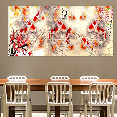 Canvas schilderij decoratie, Print Chinese Abstract Nine Koi Lotus Olieverf op doek Poster Feng Shui Wall Art Picture for Living Room Decor van het Huis (Size (Inch) : 50x150cm)
