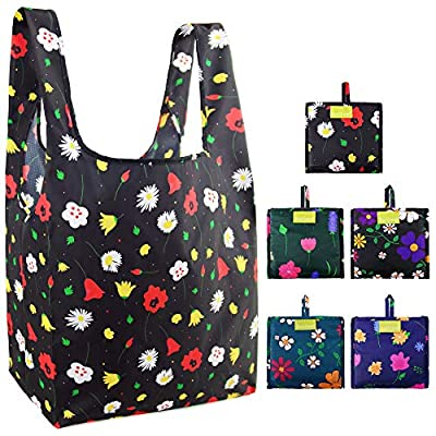 Reusable Grocery Bags Foldable Heavy Duty Large Shopping Bags Bulk 50LBS Cloth Grocery Totes Bags Ripstop Waterproof Machine Washable Sturdy Tulips Roses Chrysanthemums Small Flowers