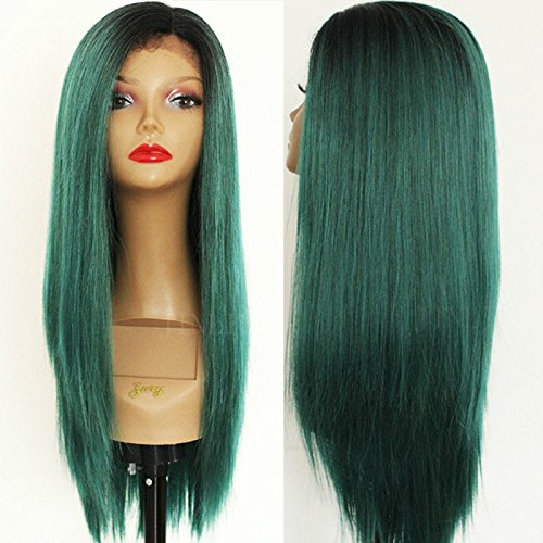 """PlatinumHair dark roots to green ombre straight wigs synthetic lace front wigs glueless lace front wigs 24"""""""