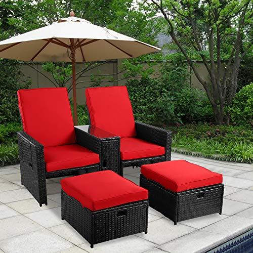 B BAIJIAWEI 5PCS Outdoor Patio Furniture Set - Wicker Loveseat Sofa with Adjustable Backrest, Coffee Table, Ottoman - Rattan Lounge Chair for Garden, Beach, Poolside, Balcony, Backyard, Deck