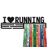 United Medals I Love Running - Soporte de acero con revestimiento de polvo negro (3 barras para colgar hasta 48 medallas)