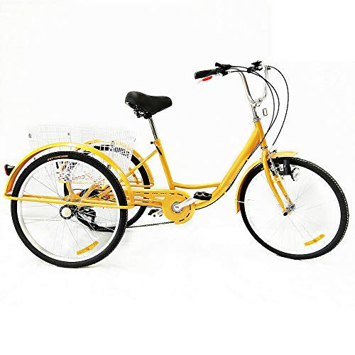 SHIOUCY 24'3 Wheel Adult Bicycle Tricycle Cruise Trike + Basket + Head Light, 6...