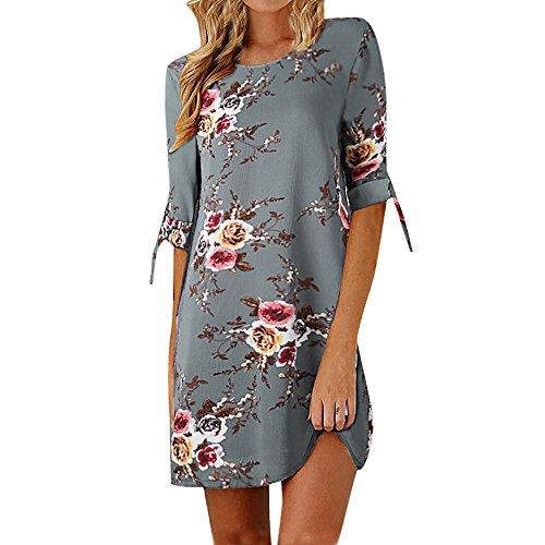 Xmiral Kleid Frauen Blumendruck Bowknot Ärmel Cocktail Minikleid Partykleider O-Ansatz Bohemien Chiffon Elegant(XL,Grau)