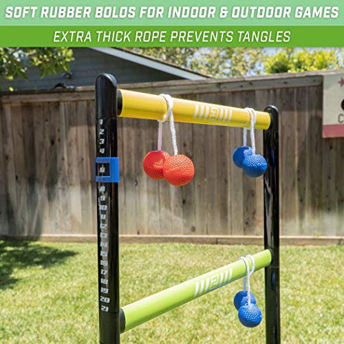 GoSports Pro Grade Ladder Toss Indoor/Outdoor Game Set with 6 Soft Rubber Bolo Balls, Travel Carrying Case and Score Trackers, Black