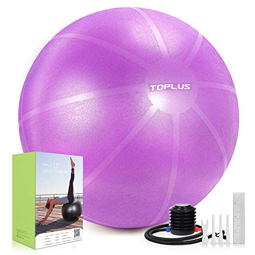 TOPLUS Exercise Ball Supports 2200lbs Includes Quick Pump & Professional Guide, 65 cm, B-Purple