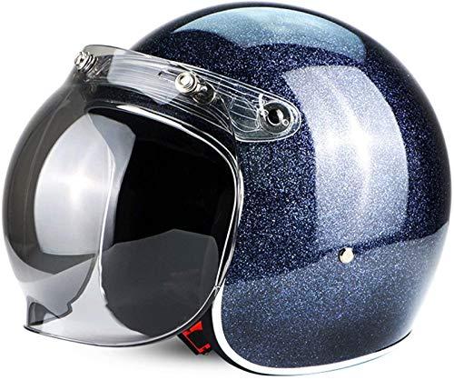 Cascos Half-Helmet Cascos Abiertos Casco Jet Casco De Cara Abierta DOT ECE Certificado Cruiser Chopper Scooter 3/4 Casco Retro Harley Gorra De Colisión De Seguridad Para Adultos,B-XXL=(63~64cm)