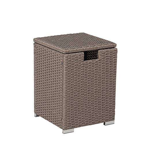 COSIEST Outdoor Hideaway Brownish-Gray Wicker Tank Table for Gas Fire Pits, Hides Standard 20 Gallon 16-inch Propane Tank Cover