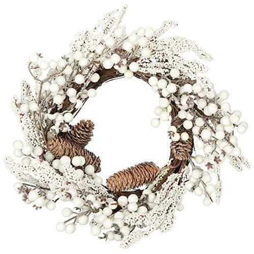 com-four® Türkranz Weihnachten - Adventskranz mit Pinienzapfen und weißen Beeren - Dekokranz - Weihnachtsdeko - Tischkranz - Weihnachtskranz - Ø 40 cm