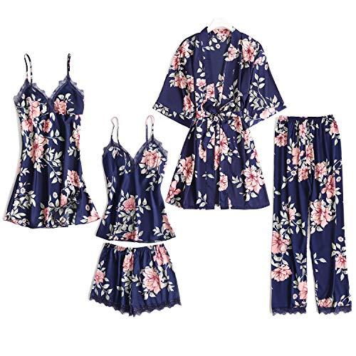 Danfiki Pijama Mujer Verano Sexy Conjunto de Pijama Seda 5 Piezas Kimono Bata Robe de Baño