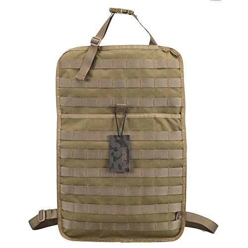 "OneTigris Car Seat Back Organizer, Tactical MOLLE Vehicle Panel Car Seat Cover Protector Universal Fit (Coyote Brown - 14"" 22"")"
