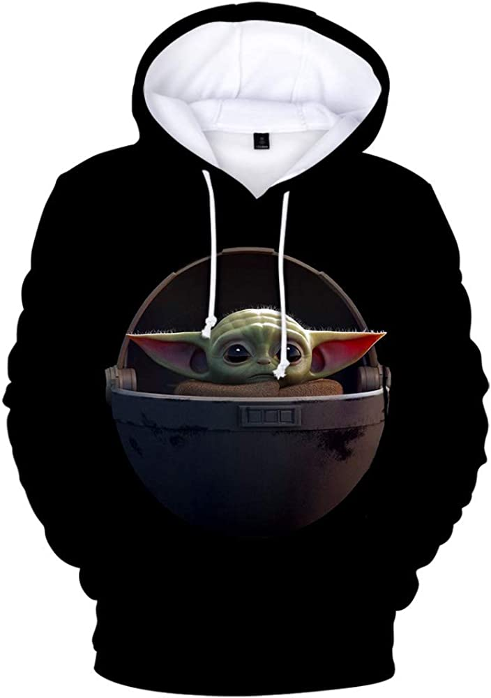 ForeverShine JNFCO Baby Yoda 3D Printed Long Sleeve Hoodies,Men and Women Pullover Sweatshirt with Pocket