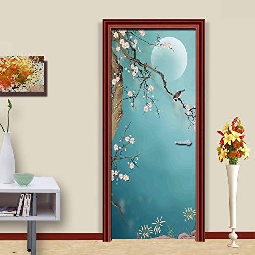 Papel pintado de viento flores y pájaros arte pintado a mano pintura de pared pegatina de vinilo etiqueta de la puerta 3d mural fotográfico impermeable