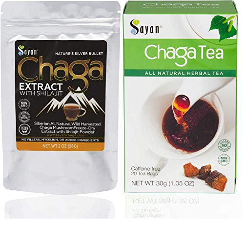 Sayan Siberian Wild harvested Chaga Mushroom Extract with Shilajit Powder and Chaga Tea - Powerful Antioxidant Fulvic Acid Supplement, Caffeine Free 2 Oz Package + 20 Tea Bags
