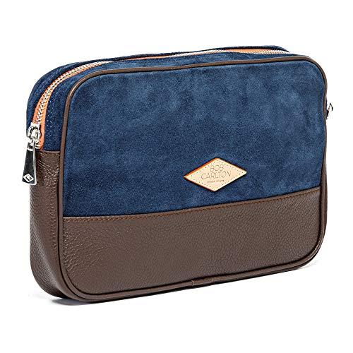 Bob Carlton – Bolso para hombre de negocios 29 x 19 x 4 cm – Bolso de piel – Elegancia informal (oso azul marino y cuero granulado Chocolat)