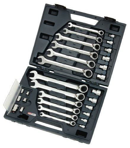 KS Tools 503.4960 GEARplus RINGSTOP-Ratschenringmaulschlüssel-Satz, 30-tlg. mit Adapter