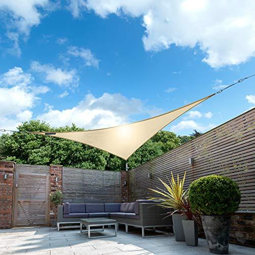 Kookaburra Wasserfest Sonnensegel Sandfarben Wasserabweisend Imprägniert Wetterschutz 98% UV Schutz für Garten Terrasse und Balkon (2,0m Dreieck)