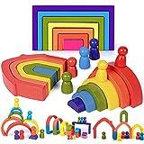 Arcoiris Madera Juguetes de Madera Arcoiris Montessori Arco Iris Apilado Juego Aprendizaje Bloques de Construcción Juguetes Educativos para Niños Niñas Bebé
