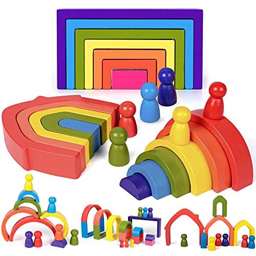 Regenbogenstapler aus Holz Puzzle Stapelspiel Holz Montessori Spielzeug für Kleinkinder Kinder Baby Jungen Mädchen