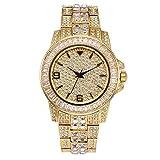 Reloj Diamond Diamond Watch con Reloj de Hip Hop Completo para Hombres Bling Bling Reloj de Diamantes simulado Reloj (Oro)