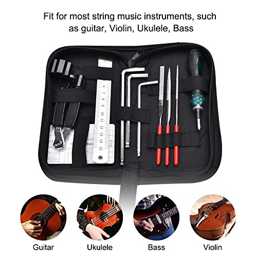 Gitarren Reparatur Set, Gitarren Reparatur Wartung Werkzeug Kits Gitarrendateien Fret String Cutter Lineal String Action Gauge Schlüssel mit Tasche für Gitarre Ukulele Bass Mandoline