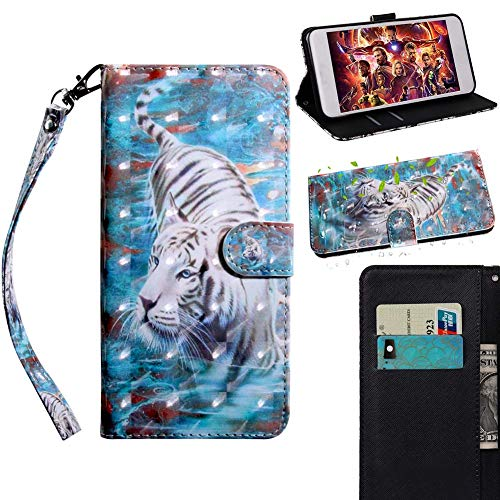Yesun K Suitable for iPhone 11 Pro X XR Xs Max 7/8/SE2020 Plus Flip Magnetic Suction Phone Case, Card Slot Coin Purse, Short Hand Strap (Wrist Strap) (Downhill Tiger, iPhone Xs Max)