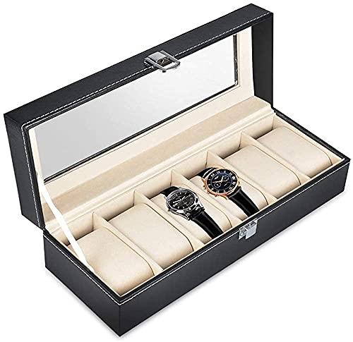 LHJCN Schmuckkästchen, Uhrenbox, 6 Fächer, Leder, Uhrenschatulle, Glasdeckel, Uhrenschatulle, Geschenk-Box, für Männer, Frauen, Vatertag, Geburtstag, Schwarz