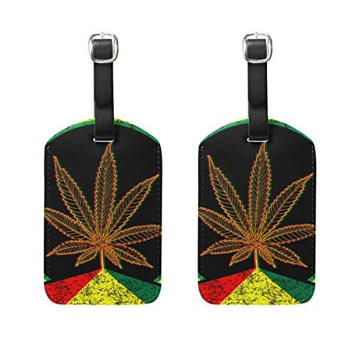 Ahomy - Juego de 2 Etiquetas de Seguridad para Equipaje, diseño de Hoja de Marihuana, con Tira Ajustable