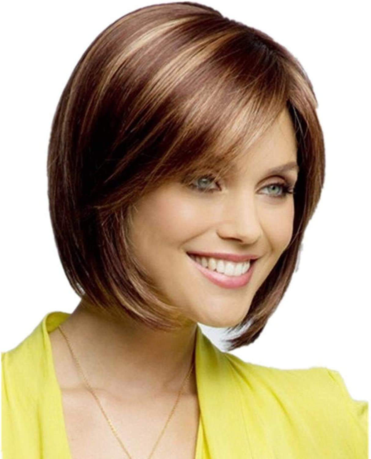 Short Hair Mixed color Straight Synthetic Hair Wig Full Hair Wigs for Women DIY Fun (color   Photo color)