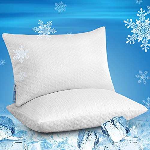 Niceeday Cooling Bed Pillows for Sleeping 2 Pack Queen - Adjustable Shredded Memory Foam Bed Pillow - Pain Relief Bamboo Sleeping Pillow for Side, Back, Stomach Sleepers (White, Queen 2 Pack)