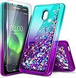 NZND Nokia 3.1A (ATundT) / Nokia 3.1C (Cricket Wireless) mit Bildschirmschutzfolie aus gehärtetem Glas, glitzernder Flüssigkeit, Wasserfall, langlebig, für Mädchen, niedlich, Farbverlauf Aqua/Violett