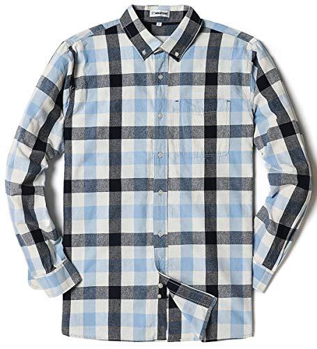 Men's Long Sleeve Plaid Button Down Cotton Casual Shirts Muti Plaid XX-Large Blue Black