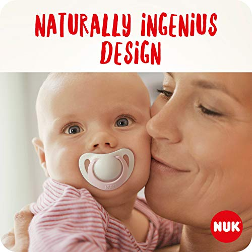 NUK Genius Baby Dummies, 0-6 Months, Silicone, BPA Free, Pink, 2 Count(Designs may vary)