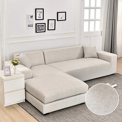 CHLM Fundas de sofá de Esquina Lisas para Sala de Estar, Funda de sofá de Licra elástica, Fundas elásticas, sofá en Forma de L, Necesidad de Comprar 2 uds.