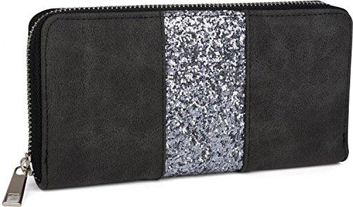 styleBREAKER Geldbörse mit umlaufendem Pailletten Streifen, Reißverschluss, Portemonnaie, Damen 02040056, Farbe:Schwarz