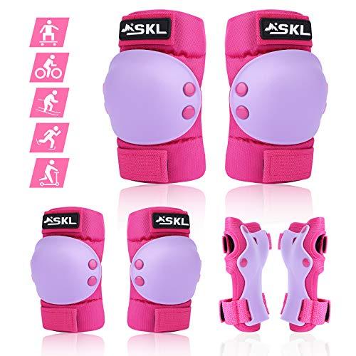 Kinder Knieschoner Set, Protektorenset Schützerset Kinder Knieschoner Ellboenschoner Handgelenkschoner Schutzausrüstung rosa