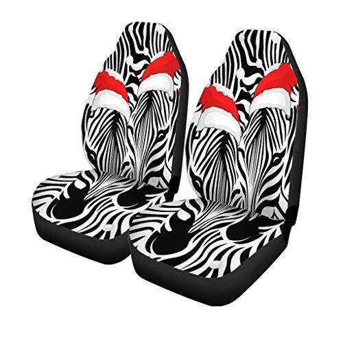Autostoelhoezen Zebra Paar Kerstmuts en Sneeuw Vrolijk Kerst Gelukkig Set van 2 Beschermers Auto Fit voor Auto