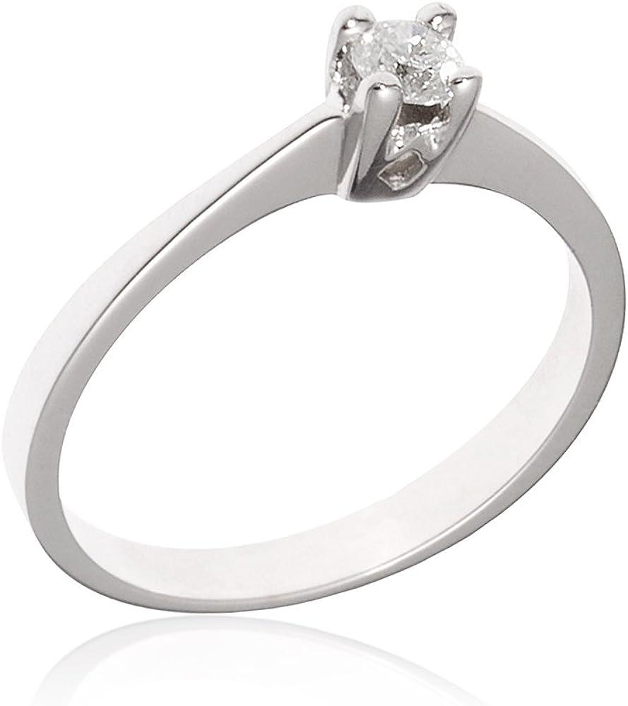 Gioiello italiano - anello solitario in oro bianco 14kt con diamante 0.15ct 378