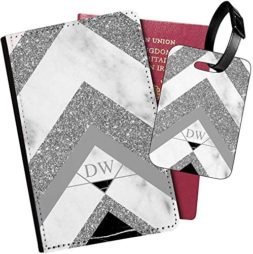 Personalised Marble PU Leather Passport Holder Travel Wallet & Luggage Tag Set - 87