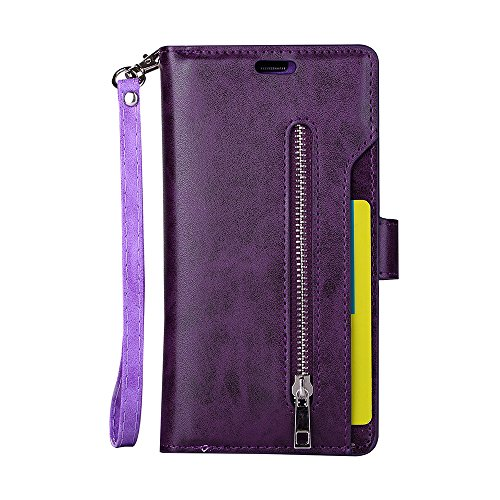 FOLICE Galaxy S7 Edge Case, Zipper Wallet Case [Magnetic Closure]& 9 Card Slots, PU Leather Kickstand Wallet Cover Durable Flip Case for Samsung Galaxy S7 Edge (2016 Release) (Violet)