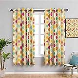 Paneles de cortina de decoración color beige ovalados verticales, con forma geométrica, con forma ondulada, aspecto que fluye hacia abajo, cortina de baño multi de ancho x 45 pulgadas de largo