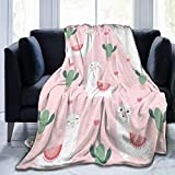 KiuLoam Cute Llama with Cactus Soft Throw Blanket 40'x50' Lightweight Flannel Fleece Blanket for Living Room Bedroom Sofa Couch Warm and Cozy