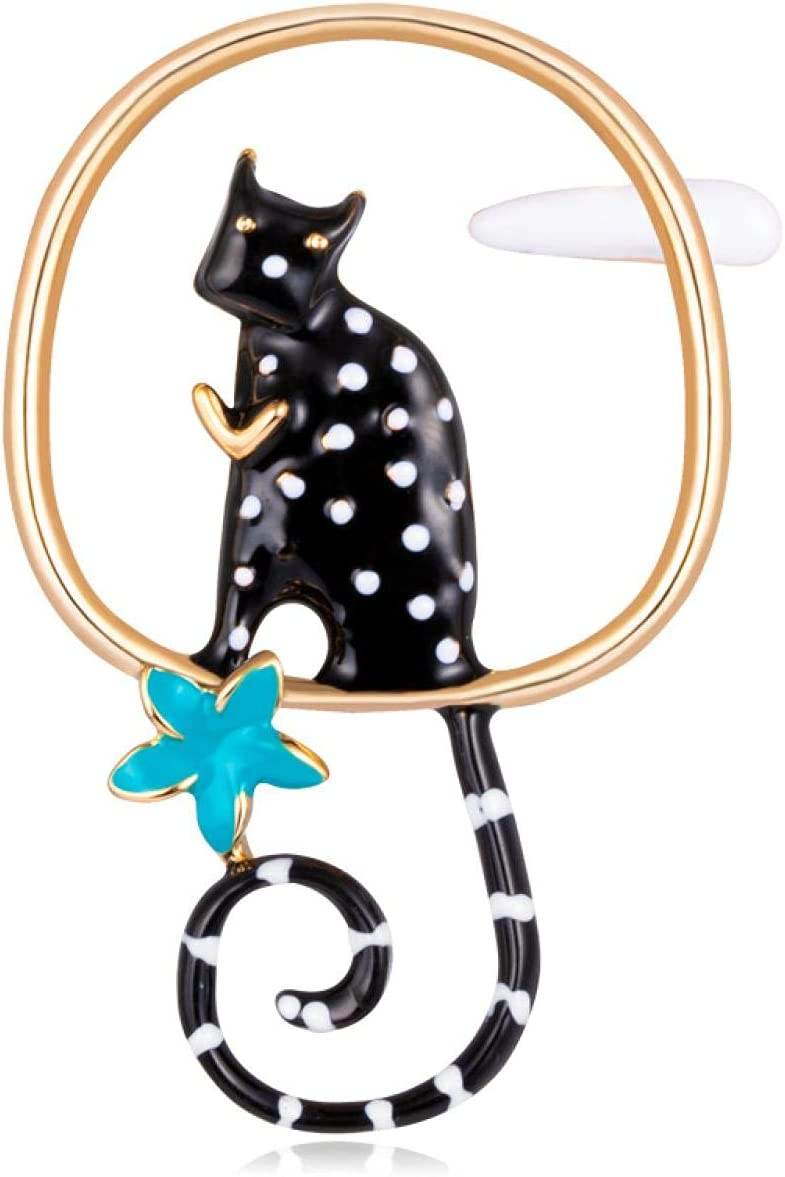 HSRWARE Creative New Cute cat Brooch, drip Animal Brooch, Environmental Protection Alloy Jewelry,Jewelry for Girls, Good Gifts for dads, Bonus dad Gifts, Gift for Parents, mom and dad Gifts Black