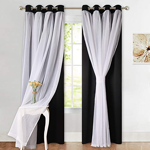 PONY DANCE Decorative Window Curtains - Layered Blackout Drapery White Crushed Sheers Light Blocking Panels Set for Living Room, 52 W x 84 L, Black, Set of 2