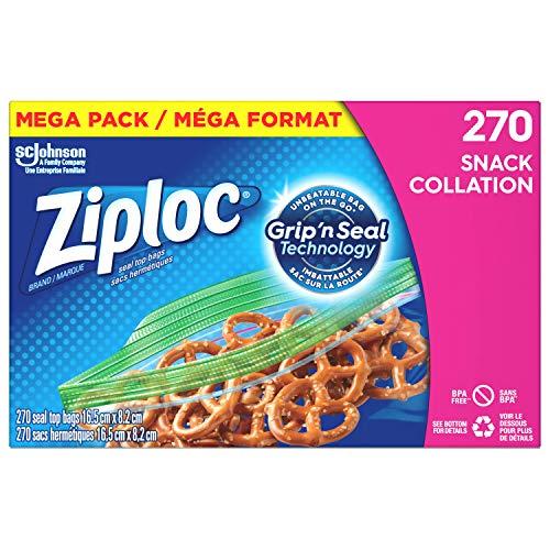 Ziploc Brand Bags, Snack, Mega Pack, 270 Count