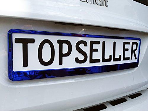 Warenfux24 2 x Kennzeichenhalter Nummernschildhalter Blau Chrom Metallic Autozubehör Auto Warenfux24